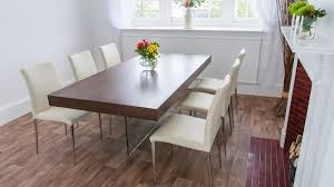 glass dining furniture. large dark wood and glass dining table cream chairs furniture