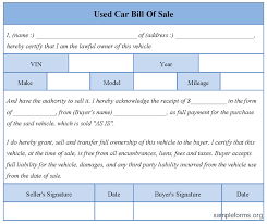 Vehicle Bill Of Sale Form used car pictures: Used Car Bill Sale Form Sample Sample