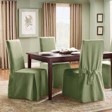 sage green slipcover and wooden table for impressive kitchen decorating ideas with beige curtain