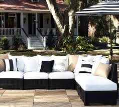 palmetto all weather wicker armless outdoor sectional set black pottery barn