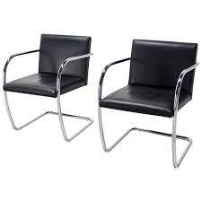 pair of mid century modern leather and chrome brno chairs bauhaus for