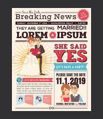 Wedding Invitation Newspaper Template Couple Cartoon Newspaper Journal Stock Vector Colourbox