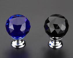 crystal furniture knobs. Glass Dresser Knobs / Crystal Drawer Pulls Handles Sparkly Diamond Dark Blue Black Cabinet Handle Pull Furniture Knob Hardware A