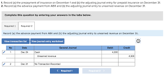 Prepaid Insurance Journal Entry Solved 1 Record A The Prepayment Of Insurance On Decem