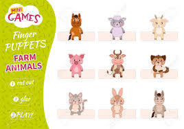 A Set Of Finger Puppets For Children Cut Glue And Play Farm