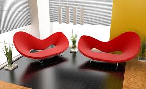 modern red sofas two red chairs