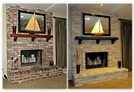 brick painting ideasAmazing Painted Brick Homes Before And After Fireplace Interior
