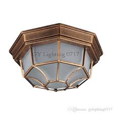 2019 rustic frosted glass lampshade outdoor yard lighting garden balcony ceiling mounted lamp europe style out door waterproof lamp fixture from