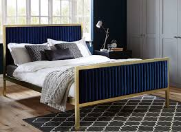 Addison Gold and Blue Metal Bed Frame