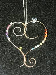 rainbow gemstone mixed metals wire wrapped heart necklace 925 gf