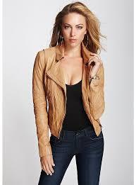 women s fashion outerwear jackets tan leather jackets guess carly genuine leather jacket