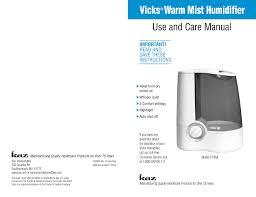 Vicks Warm Mist Humidifier Reset Light Vicks Warmmist Operating Instructions Manualzz Com