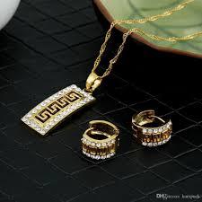 whole luxury cz vine greek fret jewelry set pendant necklace earrings key pattern gold crystaljewelry african wedding jewelry gift jewellery s