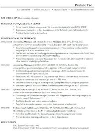 Career Objective For An Accounting Resume Examples With Summary Of