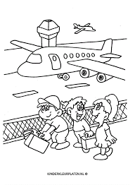 Kleurplaat Vliegtuig Vliegveld Vliegvakantie Vakantie