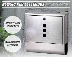 mailbox wall mount stainless steel newspaper letterbox with 2 key 30 5x9 6x33 5 trade me