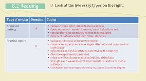 unit mental disorders popular myths skills focus reading  b look at the five essay types on the right