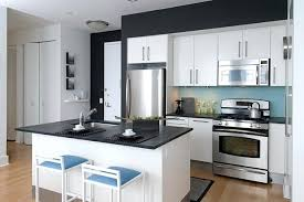 beacon one bedroom residence contemporary kitchen new white cabinets black countertops office dark countertop what color