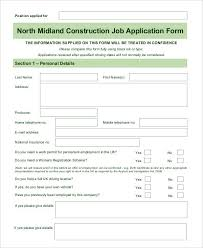 construction job application template blank job application 8 free word pdf documents download free