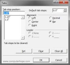 type of tab what is a tab stop