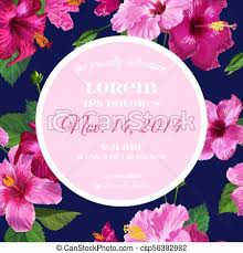 Wedding Invitation Template With Purple Hibiscus Flowers Save The Date Floral Card For Greetings Anniversary Birthday Baby Shower Party Botanical