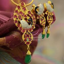 ps1177 cubic zircon meena color work peacock pendant set ruby stones gold design exclusive jewelry