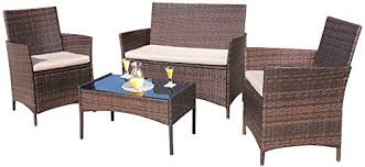 outdoor furniture wicker. Homall 4 Pieces Outdoor Patio Furniture Sets Clearance Rattan Chair Wicker Set,Outdoor/Indoor