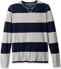 Nautica Mens Crew Neck Striped Long Sleeve Shirt Grey