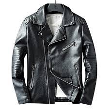 mens faux leather fashion irregular zipper black biker jacket cod