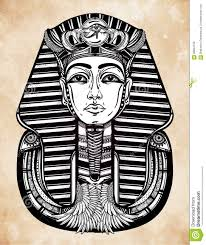 нарисованное вручную винтажное искусство вектора татуировки фараона