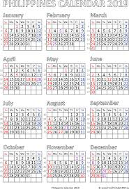 Calendar Year 2019 Printable Year 2019 Calendar Philippines With Holidays Templates And Images