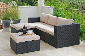 hand woven 3 seater rattan effect mini corner sofa black from argos on