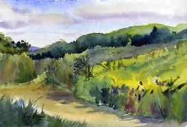 over taraden fields original watercolor landscape painting plein air landscape painting
