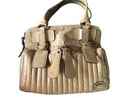 chloé bay bag handbags leather beige ref 60130