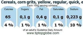 gda caloric and nutritional values cereals corn grits yellow regular quick enriched cooked with water with salt