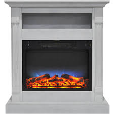 sienna 34 in electric fireplace w multi color led insert and white