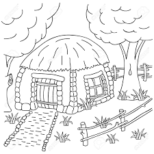fence drawing. Hand-draw Village House Behind The Fence. Coloring Book Page For Adults And Children Fence Drawing E