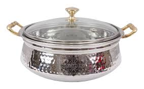 stainless steel serving bowls. Brilliant Stainless Stainless Steel Serving Handi Bowl With Glass Lid Intended Bowls L