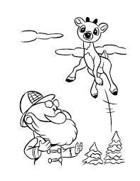 Santa Rudolph Coloring Pages With And Reindeer Hellokids Com