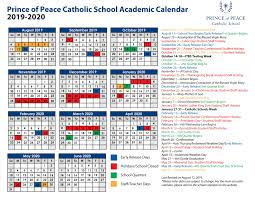 2019 2020 Academic Calendar Prince Of Peace Catholic School
