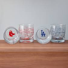 baseball park map glasses set of 2