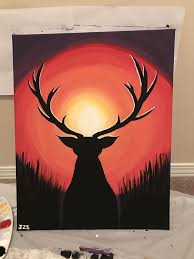 i made this painting for someone very close and special to me that passed away december 16 2016 deer silhouette looking into a sunset acrylic painting