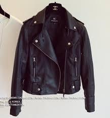 female 2016 new design spring autumn pu leather jacket faux soft leather coat slim black rivet