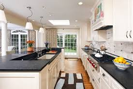 galley-kitchen-remodel-Kitchen-Contemporary-with-accent-tiles-breakfast-bar -ceiling-lighting-curtain