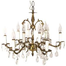 vintage victorian art nouveau style 12 light brass candelabra crystal chandelier