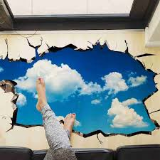 3d blue sky and white clouds wall stickers vinyl decals for ceiling bathroom kids room bedroom living room decorations iwallsticker com