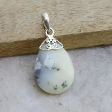 pear faceted dendritic opal pendant opal gemstone 925 s