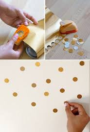 Circle punch gold contact paper to decorate your fridge (or walls, or  whatever!