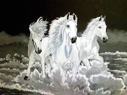 three white horses painting three white horses by vanny sok