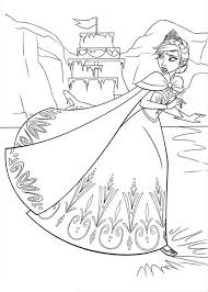 Small Picture Elsa Running on the Frozen Lake Coloring Page Download Print